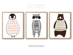 Nursery animal print set of 3 Penguin Print Raccoon by dekanimal