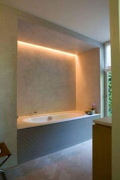 Modern Bathroom Have a nice week everyone! Today we bring you the topic: a modern bathroom. Do you know how to achieve the perfect bathroom decor? Hidden Lighting, Spa Lighting, Interior Lighting, Bathroom Lighting, Lighting Stores, Lighting Ideas, Light Bathroom, White Bathroom, Modern Lighting