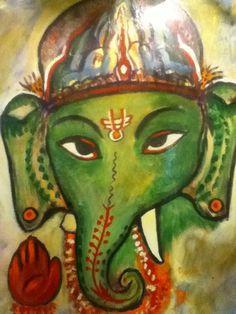 Jai Ganesha!  this beautiful painting was on the wall at Tandoor Indian Restaurant in Bloomington, MN.