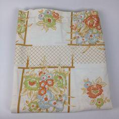 VTG Queen Flat Bed Sheet Floral Cannon Monticello Trellis Lattice Garden Percale #CannonMonticello