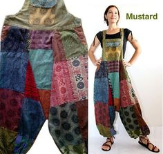 Patchwork Harem Jumpsuit , Aladdin Overalls - Women - Romper - maternity - Blue - pants diet first hacks Gypsy Style, Hippie Style, My Style, Sewing Clothes, Diy Clothes, Boho Hose, Boho Fashion, Fashion Outfits, Fashion Design