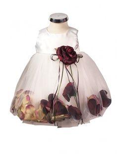 BIMARO Baby Mädchen Babykleid Vivien creme beige Kleid Taufkleid Blüten rot Tüllrock Taufe Hochzeit Weihnachten festlich Babies Babykleider