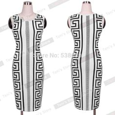 Nice-forever Casual Fashion sexy women White summer dress Aztec Tribal Rocco Sleeveless Novelty Print bodycon pencil dress 750