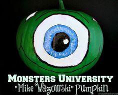 Monsters University ~Mike Wazowski ~ Painted Pumpkin via Chase the Star Halloween Eyeballs, Halloween Pumpkins, Fall Halloween, Halloween Crafts, Halloween Decorations, Halloween Goodies, Disney Halloween, Halloween Stuff, Halloween Ideas