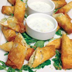 Pera Soho's menu offers Eastern Mediterranean dishes like feta-stuffed phyllo rolls.