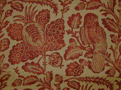 GP & J Baker Owls & Fruit Red Sand Linen Curtain & Upholstery Fabric - The Millshop Online