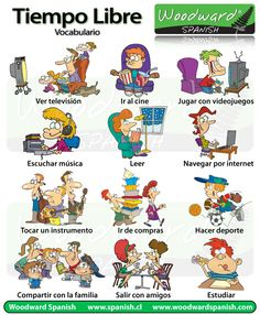 Leisure and freetime activities vocabulary list pictures Vocabulary List, Spanish Vocabulary, Teaching Spanish, Teaching English, English Grammar, Spanish Lessons, English Lessons, Learn English, English Beginner