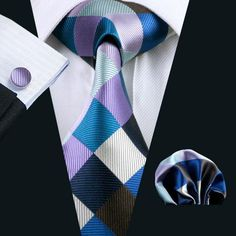 Classic Blue Mens Tie Set Check Silk Tie Plaids Hanky Flower Lapel Pin Cufflinks