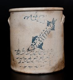 Unusual Ohio Stoneware Crock w/ Swimming Fish Decoration -- Lot 110 -- October 2015 Stoneware Auction Red Wing Stoneware, Stoneware Crocks, Antique Stoneware, Antique Pottery, Earthenware, Blue Pottery, Antique Crocks, Old Crocks, Pots
