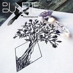 Tree geometric nature tattoo idea bunette