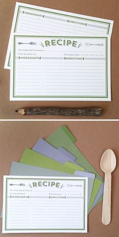 Free Printable Recipe Cards  Divider. Just type in your recipes, it's editable. www.lovevsdesign.com