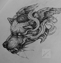 #tattoo #tattoosketch #tattooflash #illustration #art #wolf #black #blackwork…