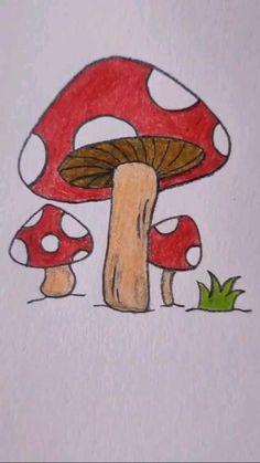 Easy Flower Drawings, Cute Easy Drawings, Art Drawings For Kids, Art Drawings Sketches Simple, Pencil Art Drawings, Doodle Drawings, Simple Tumblr Drawings, Easy Drawing For Kids, Easy Nature Drawings