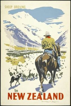 Sheep Droving in New Zealand by Marcus King for Sale - New Zealand Art Prints Retro Poster, Vintage Travel Posters, Poster On, Party Vintage, Vintage Ads, Posters Australia, New Zealand Art, Tourism Poster, Kunst Poster