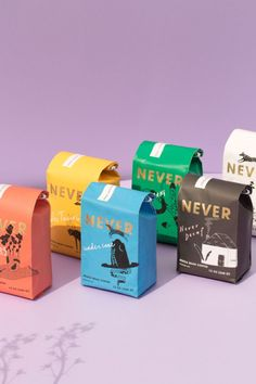 Beans from Never Coffee Lab - shipping beans nationwide! #coffee #coffeebeans Packaging Box Design, Cool Packaging, Coffee Packaging, Brand Packaging, Coffee Lab, My Coffee Shop, Colorful Cafe, Packaging Inspiration, Tea Brands
