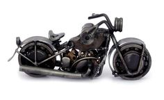 Recycled Metal Auto Parts Motorcycle Sculpture by BastaVintage