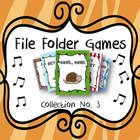 Great tool for individual practice or music centers... Collection Number 3! File Folder Games for Hey Hey, Snail Snail, Rain Rain, Lucy Locket, and Apple Tree!
