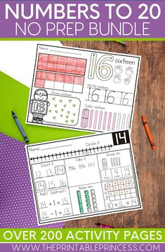 Help your students master their counting skills by using these numbers to 20 activity pages. These printable worksheets can be used in math centers or assigned as homework! Students will love practicing their counting and cardinality and one to one correspondence. My bundle will keep your math centers engaging.
