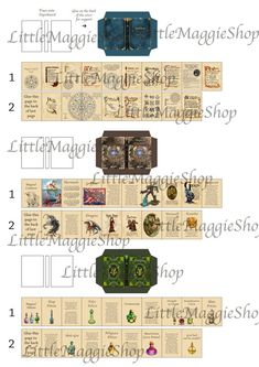3 Printable Magical Books with pages - Spells, Potions and Magical Creatures for Dollhouse Miniature Harry Potter Navidad, Harry Potter Weihnachten, Deco Harry Potter, Theme Harry Potter, Halloween Shadow Box, Halloween Scene, Dollhouse Miniature Tutorials, Dollhouse Miniatures, Miniatures Harry Potter
