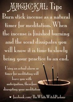 Magickal Tip: Burn incense as natural timer for meditation Wiccan Witch, Magick Spells, Wicca Witchcraft, Wiccan Magic, Healing Spells, Witch Spell, Candle Magic, White Witch, Practical Magic