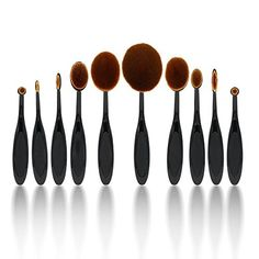 Yoa Professional 10 Pcs Soft Oval Toothbrush Makeup Brush Sets Foundation Brushes Cream Contour Powder Blush Concealer Brush Makeup Cosmetics Tool Set >>> Learn more by visiting the image link.