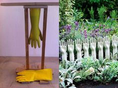 Display ideas for jewelry or hand knit mittens or gloves. Garden Crafts, Garden Art, Garden Tools, Home And Garden, Knit Mittens, Diy Storage, Jewellery Display, Landscape Design, Hand Knitting