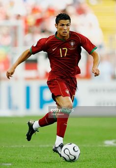 Cristiano Ronaldo of Portugal runs with the ball during the FIFA World Cup Germany 2006 Group D match between Portugal and Iran played at the Stadium Frankfurt on June 17, 2006 in Frankfurt, Germany.