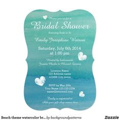 Beach theme watercolor bridal shower invitations Beach theme watercolor bridal shower invitations. Aqua / turquoise blue water color design with little vintage weathered hearts. Beautiful wedding party invites for guests. Personalizable template with brides name, date and address. Summer destination painting.