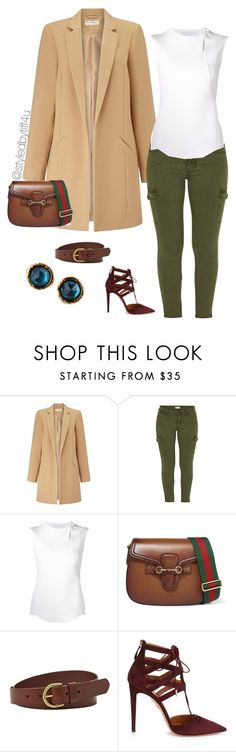 """""""'Pretty Chic'"""" by iwillmakeithappen ❤ liked on Polyvore featuring Miss Selfridge, Mother, Esteban Cortazar, Gucci, FOSSIL, Aquazzura, Marc by Marc Jacobs, women's clothing, women and female"""