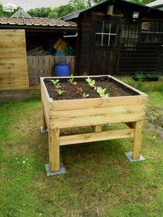 Raised Vegetable Planter / Potager Surélevé Vegetable planter made with pallets! Potager à légumes surélevé 100% palette ! http://www.1001pallets.com/2013/11/raised-vegetable-planter-potager-sureleve