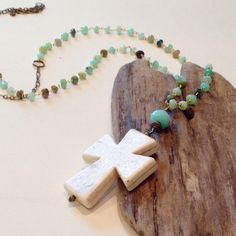 Beaded Pendant Cross Necklace Long Beaded by BohoBlissCreations Boho Necklace, Turquoise Necklace, Necklaces, Cross Love, Jewelry Design, Unique Jewelry, Aqua Blue, Cross Pendant, Gifts For Her