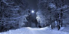 February Night by Pajunen on DeviantArt Under The Same Moon, Snow Night, Ireland Pictures, Lovers Day, Group Art, Night Shot, Blue Tones, Shutter Speed, Cover Photos