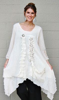 LEE ANDERSEN USA Cotton Gauze WILD WEED TUNIC Art-to-Wear Top  1X 2X 3X  NATURAL #LEEANDERSEN #Tunic #Versatile