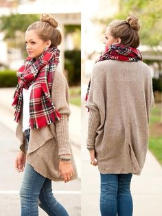 Light jeans, white T, tan cardi, red plaid scarf