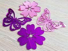 Stickere oglinda fluturi si flori din oglinda acrilica roz si mov Minnie Mouse, Disney Characters, Pink, Pink Hair, Roses
