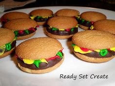 Crabby Patty Cookies for school birthday treat :) vanilla wafers, choco covered cookies and icing