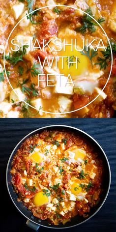 Shakshuka with Feta Recipe and how to make shakshuka in one pan from scratch with fresh ingredients. The shakshuka or shakshouka is a tomato based breakfast brunch meal from the Mediterranean area. Mediterranean Breakfast, Mediterranean Diet Meal Plan, Mediterranean Recipes, Shakshuka Recipes, Healthy Dinner Recipes, Breakfast Recipes, Cooking Recipes, Recipes With Feta, Gourmet