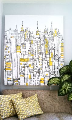 Effective DIY Wall Art Ideas cool wall art idea/Can you see this as quilting on a whole cloth quilt?cool wall art idea/Can you see this as quilting on a whole cloth quilt? Yellow Canvas Art, Diy Canvas Art, Yellow Wall Art, Canvas Paintings, Yellow Artwork, Simple Paintings, Canvas Projects Diy, Black And White Wall Art, Easy Art Projects
