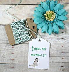 Dinosaur Party Tags Set of 20 - Thank's for Stomping By - T Rex Tags - Thank You Favor Tag - Tyrannosaurus Tags - Kids Birthday Party by TheBabyShowerMedley on Etsy