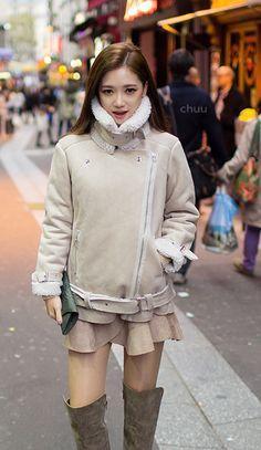 Shearling Trimmed Biker Jacket #koreanfashion Winter Fashion 2014
