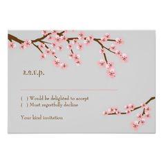 Cherry Blossom Garden RSVP w/ envelopes Custom Invite