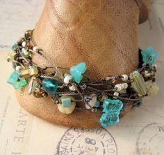 Etsy Transaction - Multi Strand Macrame Bracelet with Teal and Turquoise Beads on Brown, KnotJustMacrame