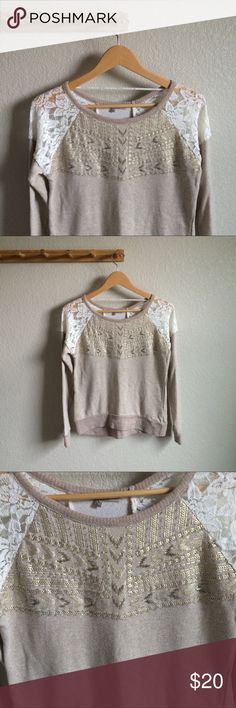 """[Miss Me] Beaded Sweater Condition➝gently worn, mild pilling to waistband Material➝60% cotton, 40% polyester Length➝21"""" Bust flat➝17"""" Miss Me Sweaters"""