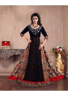 Party Wear Multicolour Pure Silk Gown - MISTHI04