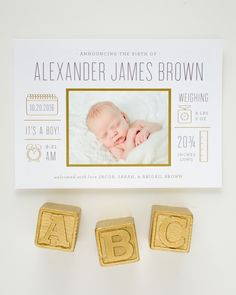 Modern Gold Foil Birth Announcements by Banter and Charm