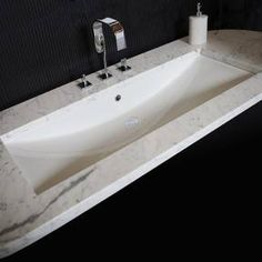 White Undermount Bathroom Sink - LaCava Trough Sink 4251UN #kitchenandbathmonth #nkba