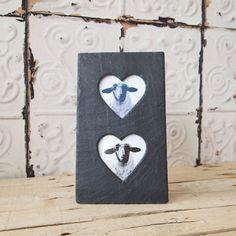 Welsh Slate photo frame- Double Heart