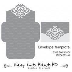 Wedding Envelope Template Instant Download cutting file (svg, dxf, ai, eps, png, pdf) printable paper cut scrapbook Silhouette Cameo Cricut