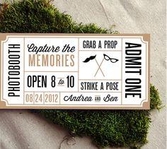 Wedding Photobooth Ticket by CheerUpCherup on Etsy