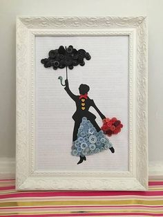 Mary Poppins Button Art Picture Beautifully hand made Disney button art picture. Includes a short snippet of a Mary Poppins tale in the background. Of which a silhouette of Mary is mounted on, and is decorated with button detail, a bow tie made from ribbo Disney Button Art, Disney Buttons, Disney Art, Beads Pictures, Art Pictures, Disney Crafts For Kids, Images D'art, Photo D Art, Button Picture